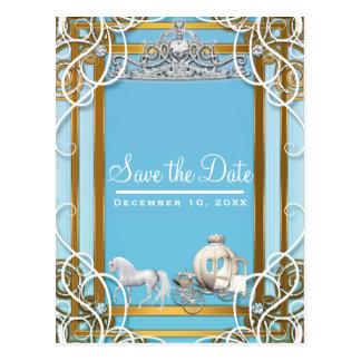 Cartão Postal Princesa azul Coroa do ouro & economias da