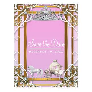 Cartão Postal Princesa cor-de-rosa Coroa do ouro & economias da