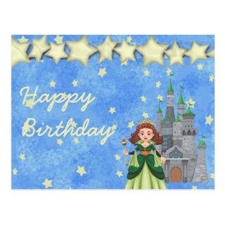 Cartão Postal Princesa do livro de histórias no verde com