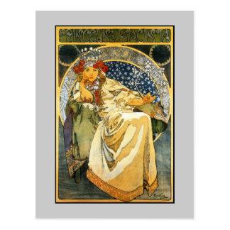 Cartão Postal Princesa Jacinto de Nouveau Alfons Mucha da arte