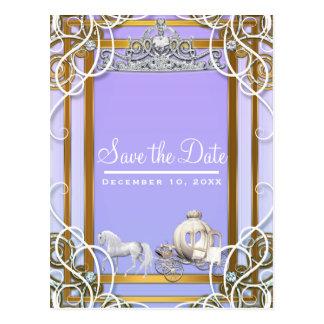 Cartão Postal Princesa roxa Coroa Carruagem Salvamento do ouro a