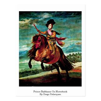 Cartão Postal Príncipe Balthasar a cavalo por Diego Velázquez