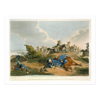 Cartão Postal Príncipe Blucher sob seu cavalo na batalha de Wa