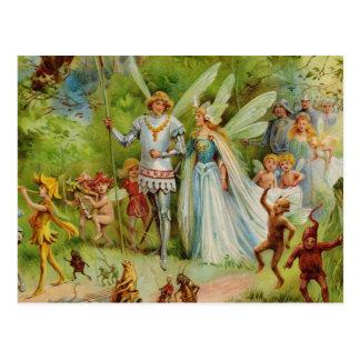 Cartão Postal Príncipe feericamente e Thumbelina na madeira