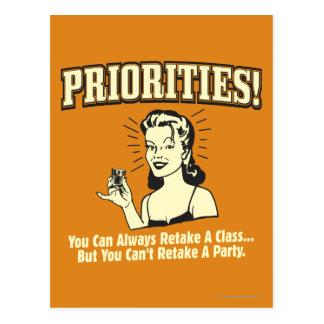 Cartão Postal Prioridades: Você pode sempre retomar uma classe