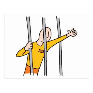 Cartão Postal Prisioneiro atrás dos bares
