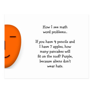 Cartão Postal Problemas da palavra da matemática. Engraçado