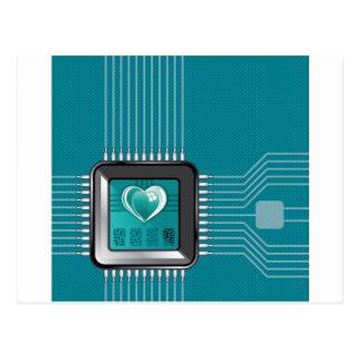 Cartão Postal Processador do computador com um coração e um