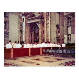 Cartão Postal Procissão papal de John Paul II dentro de St Peter