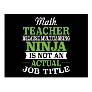 Cartão Postal Professor de matemática Ninja a multitarefas não