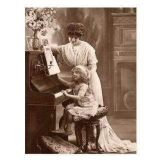 Cartão Postal Professor de música do Cartão-Vintage