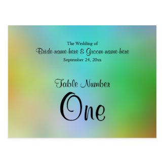 Cartão Postal Projeto colorido bonito do número da mesa do