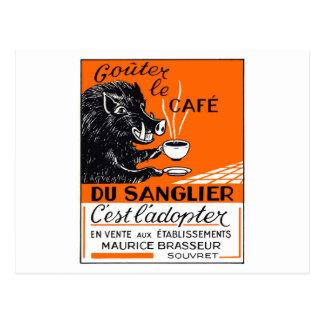 Cartão Postal Propaganda belga antiga do varrão do café