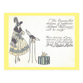 Cartão Postal Propaganda da mostra do Millinery do chapéu do