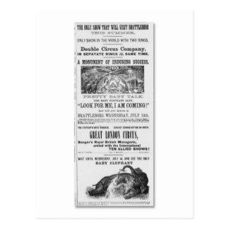 Cartão Postal Propaganda de circo de grande Londres