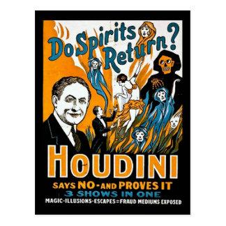 Cartão Postal Propaganda de Houdini do vintage - os espírito