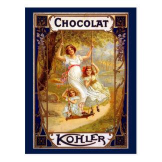 Cartão Postal Propaganda de Kohler Chocolat do vintage