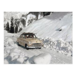 Cartão Postal Propaganda do carro vintage, cena do inverno