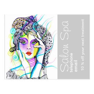 Cartão Postal Propaganda do salão de beleza e dos termas