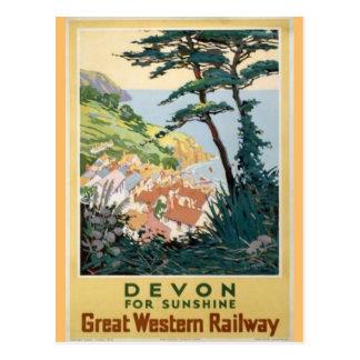 Cartão Postal Propaganda do viagem do inglês de Devon do vintage