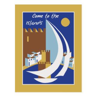 Cartão Postal Propaganda grega do viagem das ilhas do vintage
