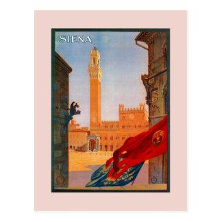 Cartão Postal Propaganda italiana do viagem de Siena do vintage