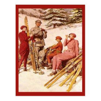 Cartão Postal Propaganda retro do vintage, poster do esqui,