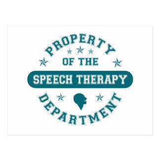Cartão Postal Propriedade do departamento da terapia da fala