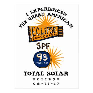 Cartão Postal Protecção solar engraçada do eclipse solar