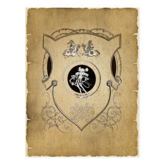 Cartão Postal Protetor irrisório do cavaleiro do rato do vintage