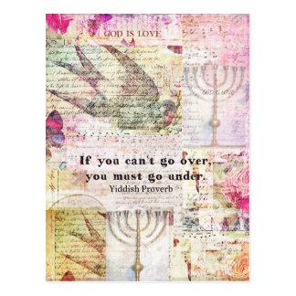Cartão Postal Provérbio Yiddish famoso com arte temático de