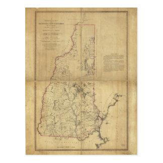 Cartão Postal Província do mapa topográfico de New Hampshire