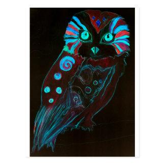 Cartão Postal Psychedelic Night Owl 60s - coruja Retro espécie -