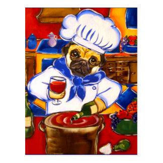 Cartão Postal Pug do cozinheiro chefe