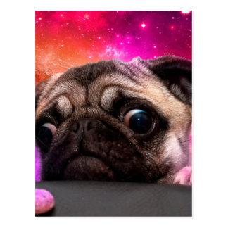 Cartão Postal pug do espaço - comida do pug - biscoito do pug
