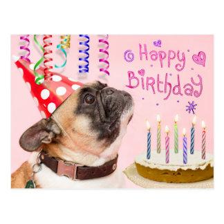 Cartão Postal Pug do partido e bolo de aniversário