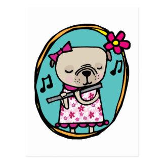 Cartão Postal Pug e flauta