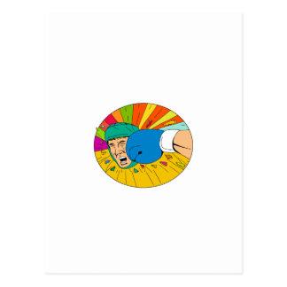 Cartão Postal Pugilista amador batido pelo desenho oval do