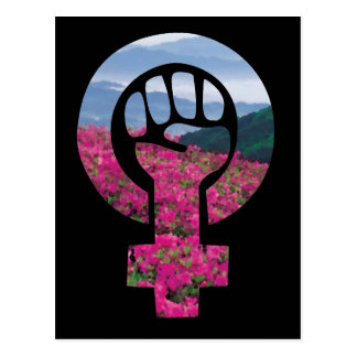 Cartão Postal Punho feminista floral