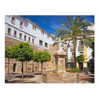 Cartão Postal Quadrado da igreja na cidade velha de Marbella