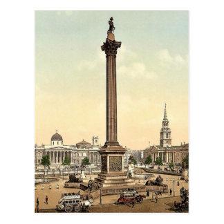 Cartão Postal Quadrado de Trafalgar e National Gallery, Londres,