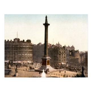 Cartão Postal Quadrado de Trafalgar Londres do vintage