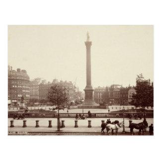 Cartão Postal Quadrado de Trafalgar, Londres (foto do sepia)