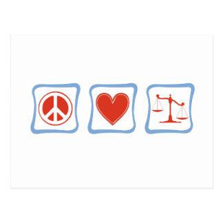 Cartão Postal Quadrados dos advogados do amor da paz