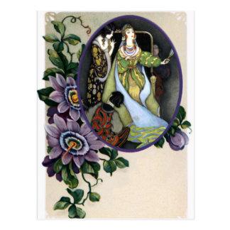 Cartão Postal Quadro da flor da paixão do vintage para alguma