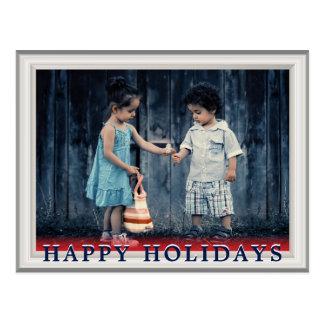 Cartão Postal Quadro de madeira branco elegante da foto