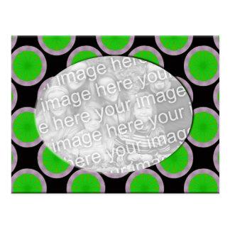 Cartão Postal quadro verde e preto da foto dos círculos