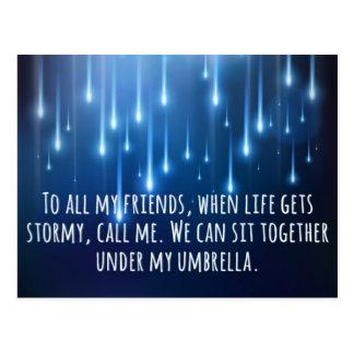 Cartão Postal Quando a vida obtem tormentoso cite