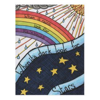 Cartão Postal Quando chove procure arcos-íris