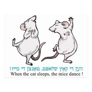 """Cartão Postal """"Quando o gato dorme, os ratos dançam """""""